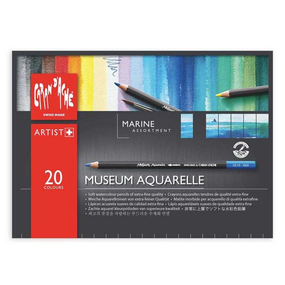 Caran D'Ache ชุดดินสอสีระบายน้ำ Museum 20 สี (Marine) 3510.920