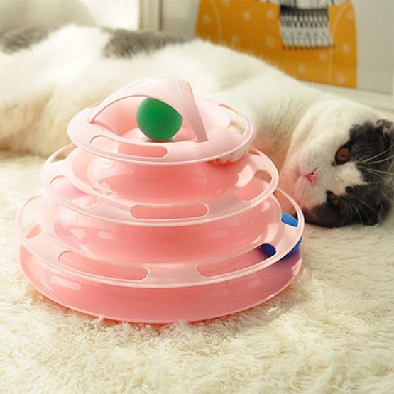 My paws รางบอลแมว 4 ชั้น สีชมพู