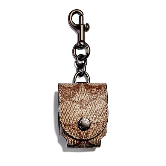 COACH F85025 EARBUD CASE BAG CHARM IN SIGNATURE CANVAS (QBTAN)