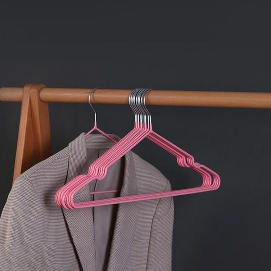 CASSA ไม้แขวนเสื้อรักษาทรง แพ็ก 10 ชิ้น - สีชมพู