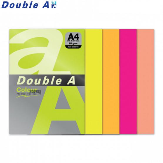 Double A กระดาษสี A4 หนา 75 แกรม (แพ็ก 100 แผ่น) คละ5สีนีออน