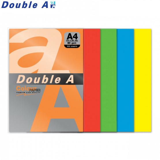 Double A กระดาษสี A4 หนา 80 แกรม (แพ็ก 100 แผ่น) คละ5สีเข้ม