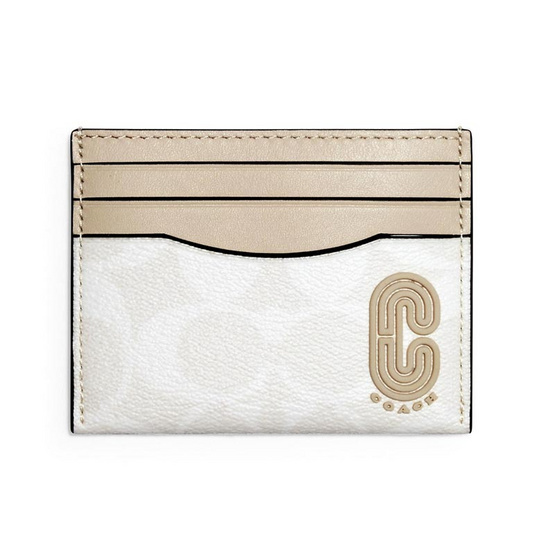 COACH 1299 SLIM CARD CASE IN SIGNATURE CANVAS WITH COACH PATCH (QBR14)