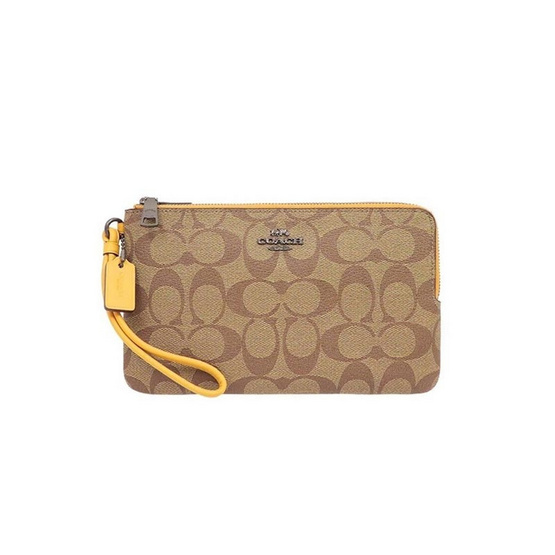 COACH 16109 DOUBLE ZIP WALLET IN SIGNATURE CANVAS (QBR4V)