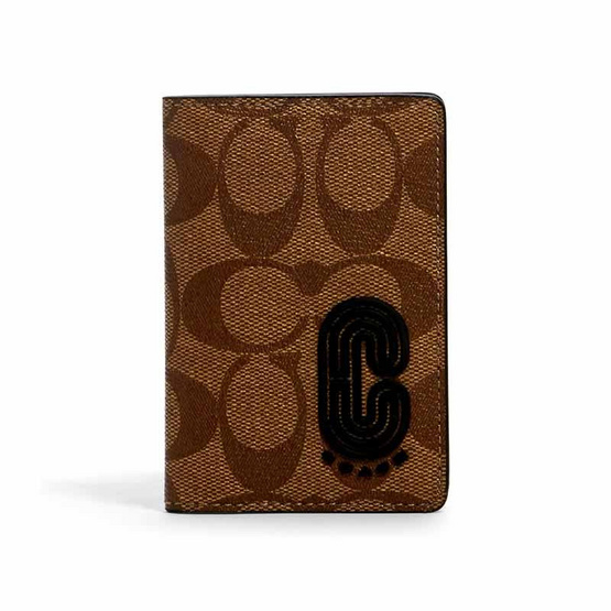 COACH 2040 CARD WALLET IN SIGNATURE CANVAS WITH COACH PATCH (QBTAL)