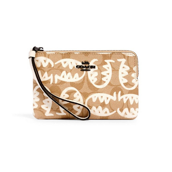 COACH 4406 CORNER ZIP WRISTLET IN SIGNATURE CANVAS WITH REXY BY GUANG YU (QBOTV)