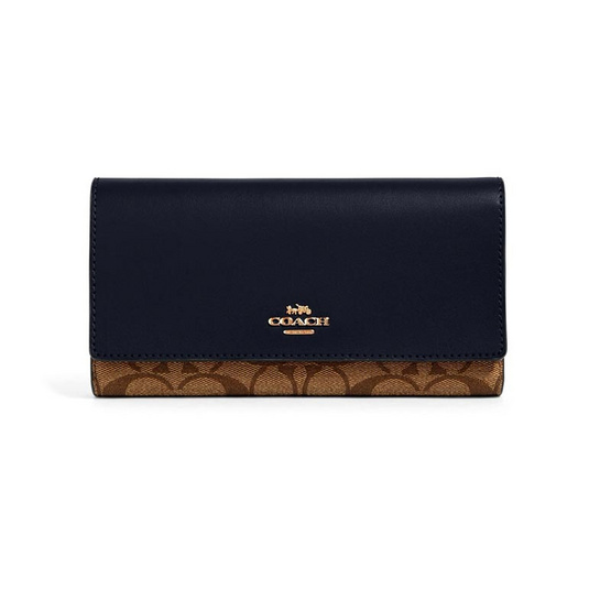COACH 88024 TRIFOLD WALLET IN SIGNATURE CANVAS (IMDT3)