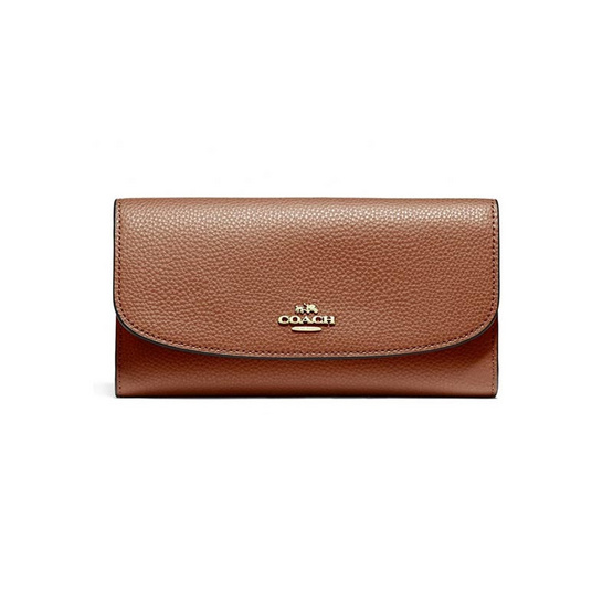 COACH F16613 CHECKBOOK WALLET IN POLISHED PEBBLE LEATHER (IMEB0)