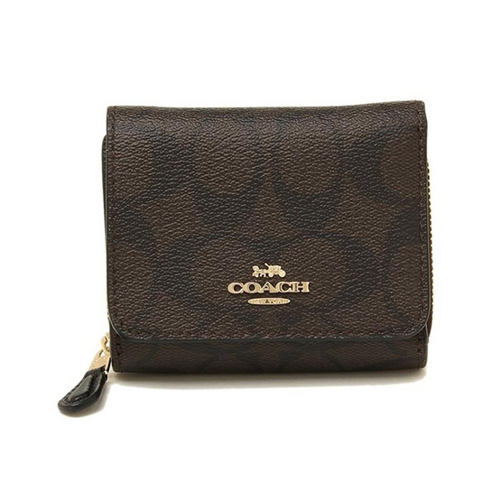 COACH F41302 SMALL TRIFOLD WALLET IN SIGNATURE CANVAS (IMAA8)