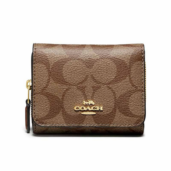 COACH F41302 SMALL TRIFOLD WALLET IN SIGNATURE CANVAS (IME74)