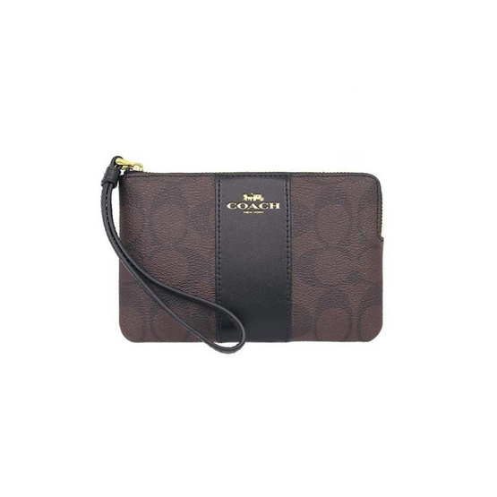COACH F58035 CORNER ZIP WRISTLET IN SIGNATURE COATED CANVAS WITH LEATHER STRIPE (IMAA8)