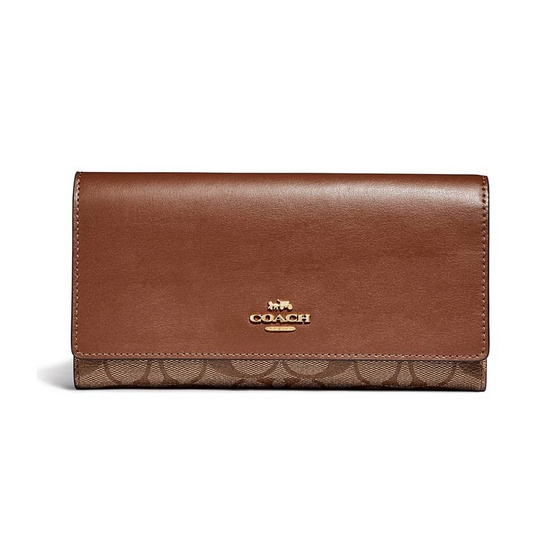 COACH F88024 TRIFOLD WALLET IN SIGNATURE CANVAS (IME74)