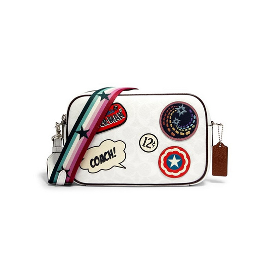 COACH 2538 MARVEL JES CROSSBODY IN SIGNATURE CANVAS WITH PATCHES (SVCAH)