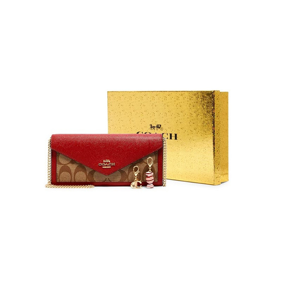COACH C1688 BOXED SLIM ENVELOPE WALLET WITH CHAIN IN SIGNATURE CANVAS (IMS5J)