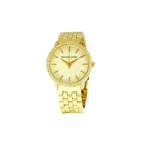 Michael MK3120 Women's MK3120 Gold 5-Link Round Argyle MK Glitz Watch