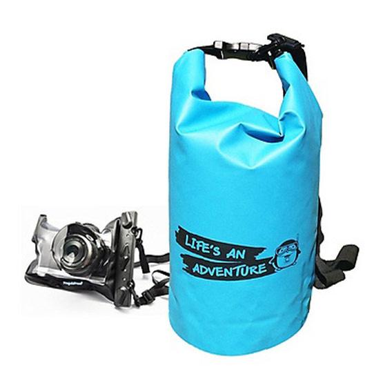 PenguinProof ถุงกันน้ำขนาด 10 ลิตร Blue มาพร้อมซองกันน้ำแบบใส (ถ่ายรูปใต้น้ำได้) สำหรับกล้อง Mirrorless (เลนส์ยาวไม่เกิน 4cm) L-04M Black