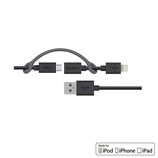 Belkin สาย Cable รุ่น Micro USB-B to Lightning Adapter Sync and Charge Cable 0.9 Meter Black