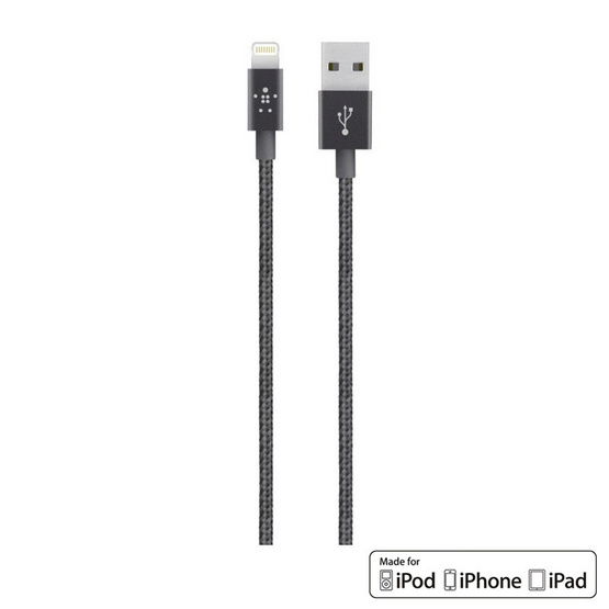 Belkin สาย Cable รุ่น Metallic Lightning Sync and Charge Braided Cable 1.2เมตร