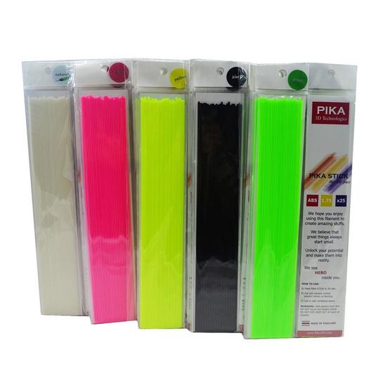 PIKA เส้นพลาสติก ABS คุณภาพสูงขนาด 1.75 mm สำหรับปากกา 3 มิติ แพ็ค 10 ซอง (สีธรรมชาติ, สีเหลือง, สีเขียว, สีชมพู, สีดำ สีละ 2 ซอง)