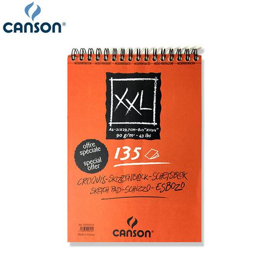 Canson สมุดสเก็ตซ์ XXL หนา 90 กรัม ขนาด A4 (135 แผ่น) ยึดห่วง 0000-316