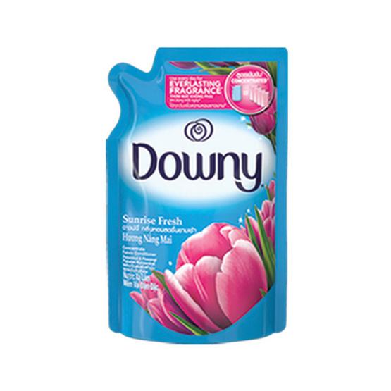 Downy น้ำยาปรับผ้านุ่ม กลิ่นซันไรซ์ เฟรช 630 มล. ถุงเติม สีฟ้า