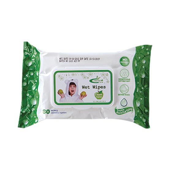 Fresh Plus เว็ท ไวพ์ ผ้าเปียก แอพเพิล สีเขียว 80 แผ่น