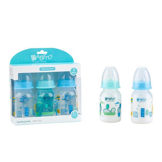 BABITO ขวดนม BPA-Free ขนาด 4oz แพ็ค 3 คละสี