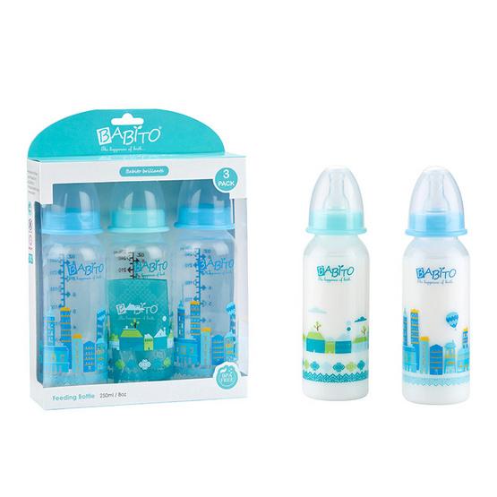 BABITO ขวดนม BPA-Free ขนาด 8oz แพ็ค 3 คละสี