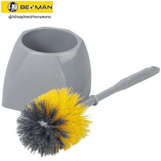 Be Man แปรงขัดห้องน้ำแบบกลม พร้อมที่วางเหลี่ยม สีเหลือง/เทา