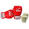 VIVA Set นวมมวยไทย / สากล หนังเทียม VELCRO 10 OZ. และผ้าพันมือธรรมดา 1 คู่