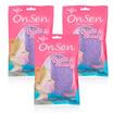 Onsen ฟองน้ำใยบุก แบบเหลี่ยม 80 กรัม สีม่วง (แพ็ค 3 ชิ้น)