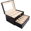Fancybox กล่องนาฬิกาไม้บุหนัง สำหรับนาฬิกา 20 เรือน 2ชั้นแบบลิ้นชัก (Black)