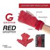 Grispper ถุงมือฟิตเนส รุ่น แผ่นรองฝ่ามือและสแตรปส์หนังแท้ สำหรับผู้ชาย ฟรีไซส์ สีแดง