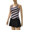 STREAMLINE ชุดว่ายน้ำสตรีทูพีช (เสื้อกล้าม + กระโปรงกางเกง) ลายเส้นสีกรม-ขาว