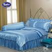 Satin Silk Touch ผ้าปูที่นอนแพรไหม ลาย P6 ฟ้าคราม (ไม่มีระบาย)