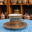 หนูเล็กเบญจรงค์ ชุดกาแฟ+จานรอง ลายพุ่มข้าวบิณฑ์พื้นดำลายแดง