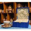 หนูเล็กเบญจรงค์ ชุดกาแฟ+จานรอง ทองนูน ลายบัวสวรรค์ สีน้ำเงิน