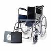 Fasicare TAVEL รุ่น FIC-311 รถเข็นผู้ป่วยเหล็กชุบโครเมียม เบาะพีวีซีสีกรมท่า เบาะ 2 In 1 ใช้นั่งและถอดออกนั่งถ่ายได้