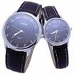 MIKE นาฬิกาคู่รัก สายหนัง สีดำ/เงิน รุ่น M-8243