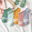 Fashion sock ถุงเท้าลายขีด สีพาสเทล ZA-4 1 แพ็ค 5 คู่ / 5สี
