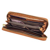 Coni Cocci กระเป๋าธนบัตรแบบซิปรอบหนังแท้อัดลายช้าง สีแทน
