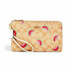 COACH 3121 DOUBLE ZIP WALLLET IN SIGNATURE CANVAS WITH WATERMELON PRINT (IMR0Q)